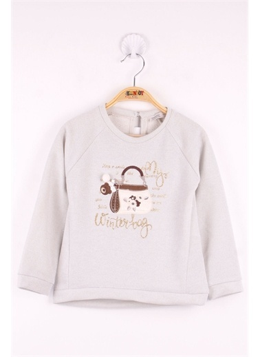 Toontoy Toontoy Kız Çocuk Çanta Nakışlı Sweatshirt Gri